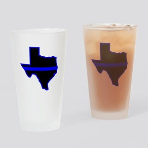Texas Blue Lives Matter Drinking Glass