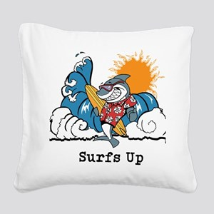 Surfs Up Shark Square Canvas Pillow