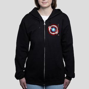 Captain America Vinyl Shield Women's Zip Hoodie