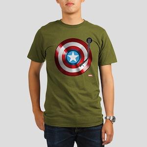Captain America Vinyl Organic Men's T-Shirt (dark)