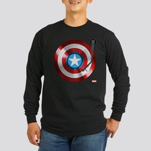 Captain America Vinyl Shi Long Sleeve Dark T-Shirt