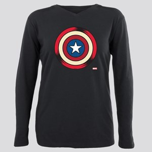Captain America Comic Sh Plus Size Long Sleeve Tee