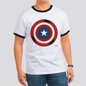 Captain America Comic Shield Ringer T