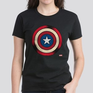 Captain America Comic Shield Women's Dark T-Shirt