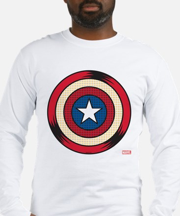 Captain America Comic Shield Long Sleeve T-Shirt
