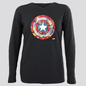 Captain America Tie-Dye Plus Size Long Sleeve Tee