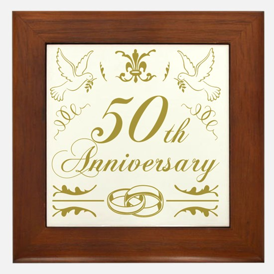 Unique 50th anniversary Framed Tile