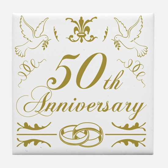 Cute 50th anniversary Tile Coaster