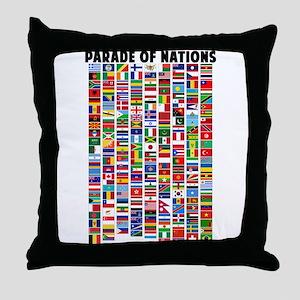 Parade of Nations Throw Pillow