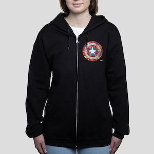 Captain America Tie-Dye Shield Women's Zip Hoodie