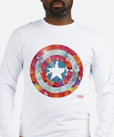 Captain America Tie-Dye Shield Long Sleeve T-Shirt