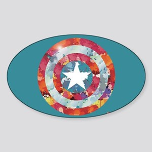 Captain America Tie-Dye Shield Sticker (Oval)