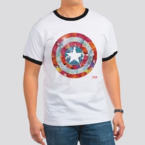 Captain America Tie-Dye Shield Ringer T