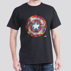 Captain America Tie-Dye Shield Dark T-Shirt