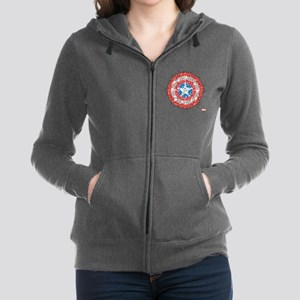 Captain America Shield Bling Women's Zip Hoodie