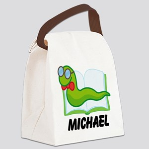 Book Worm Reading Personalized Canvas Lunch Bag
