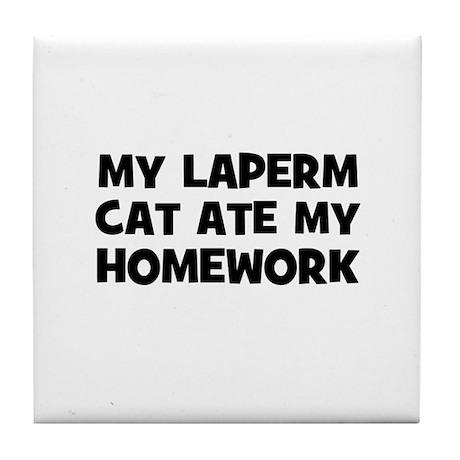 My Laperm Cat Ate My Homework Tile Coaster
