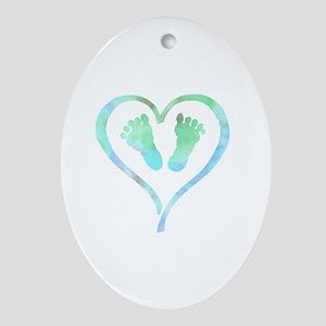 Baby Feet Heart in Watercolor Oval Ornament