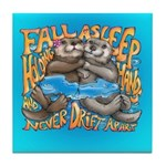 Fall Asleep Holding Hands Tile Coaster