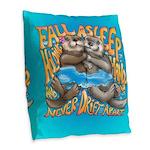 Fall Asleep Holding Hands Burlap Throw Pillow