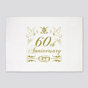 60th Wedding Anniversary 5'x7'Area Rug
