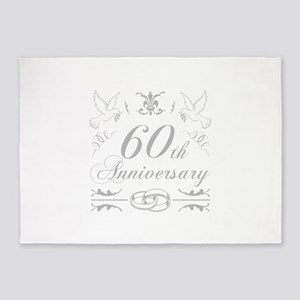 60th Wedding Anniversary 5'x7'Area Rug