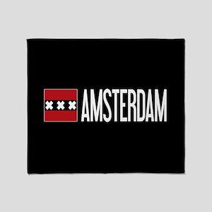 Netherlands: Amsterdam Flag & Amster Throw Blanket