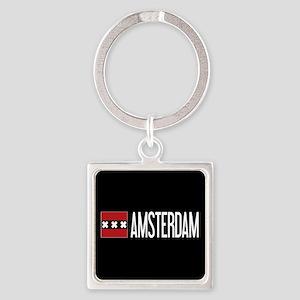Netherlands: Amsterdam Flag & Amst Square Keychain