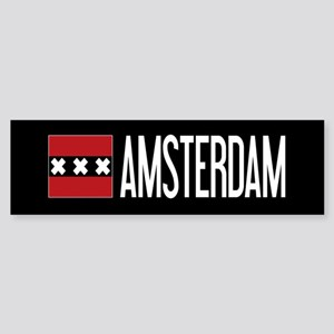 Netherlands: Amsterdam Flag & Ams Sticker (Bumper)