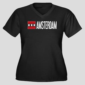 Netherlands: Women's Plus Size V-Neck Dark T-Shirt