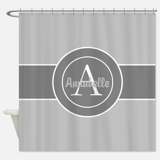 Gray Monogram Personalized Shower Curtain
