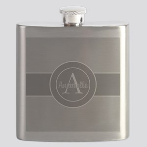 Gray Monogram Personalized Flask