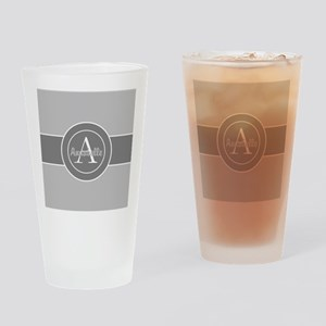 Gray Monogram Personalized Drinking Glass