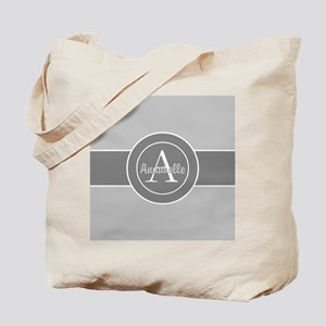 Gray Monogram Personalized Tote Bag