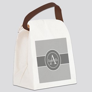 Gray Monogram Personalized Canvas Lunch Bag