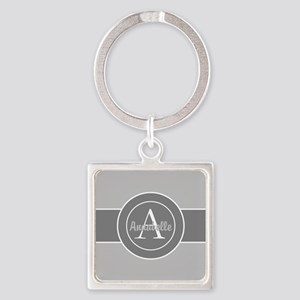 Gray Monogram Personalized Keychains
