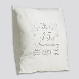 45th Wedding Anniversary Burlap Throw Pillow