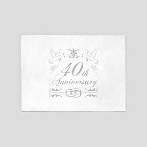 40th Wedding Anniversary 5'x7'Area Rug