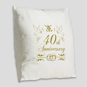 40th Wedding Anniversary Burlap Throw Pillow