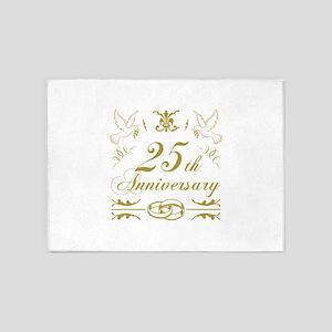 25th Wedding Anniversary 5'x7'Area Rug