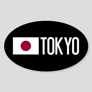 Japan: Japanese Flag & Tokyo Sticker (Oval)
