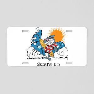 Surfs Up Shark Aluminum License Plate