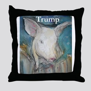 Anti Trump, pig Throw Pillow