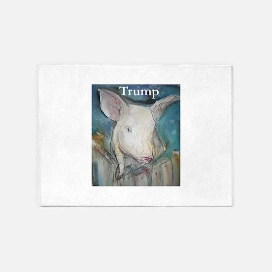 Anti Trump, pig 5'x7'Area Rug