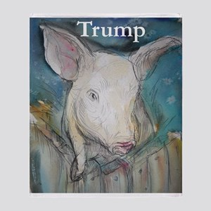 Anti Trump, pig Throw Blanket