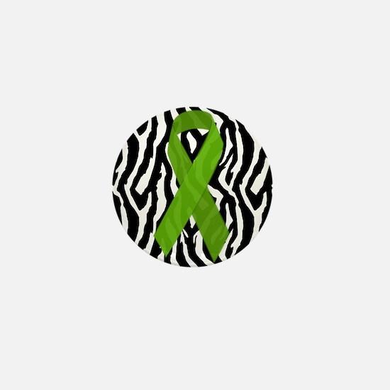 Kidney Ribbon Zebra Print Mini Button (100 pack)