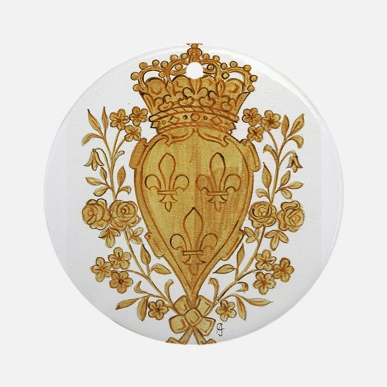 Royal Arms of France in Or Round Ornament