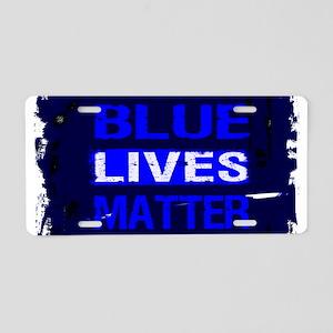 BLUE LIVES MATTER BLUE AND Aluminum License Plate