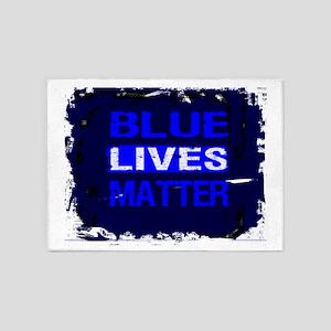 BLUE LIVES MATTER BLUE AND BLUE 5'x7'Area Rug