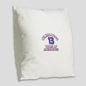 Celebrating 13 Years Burlap Throw Pillow